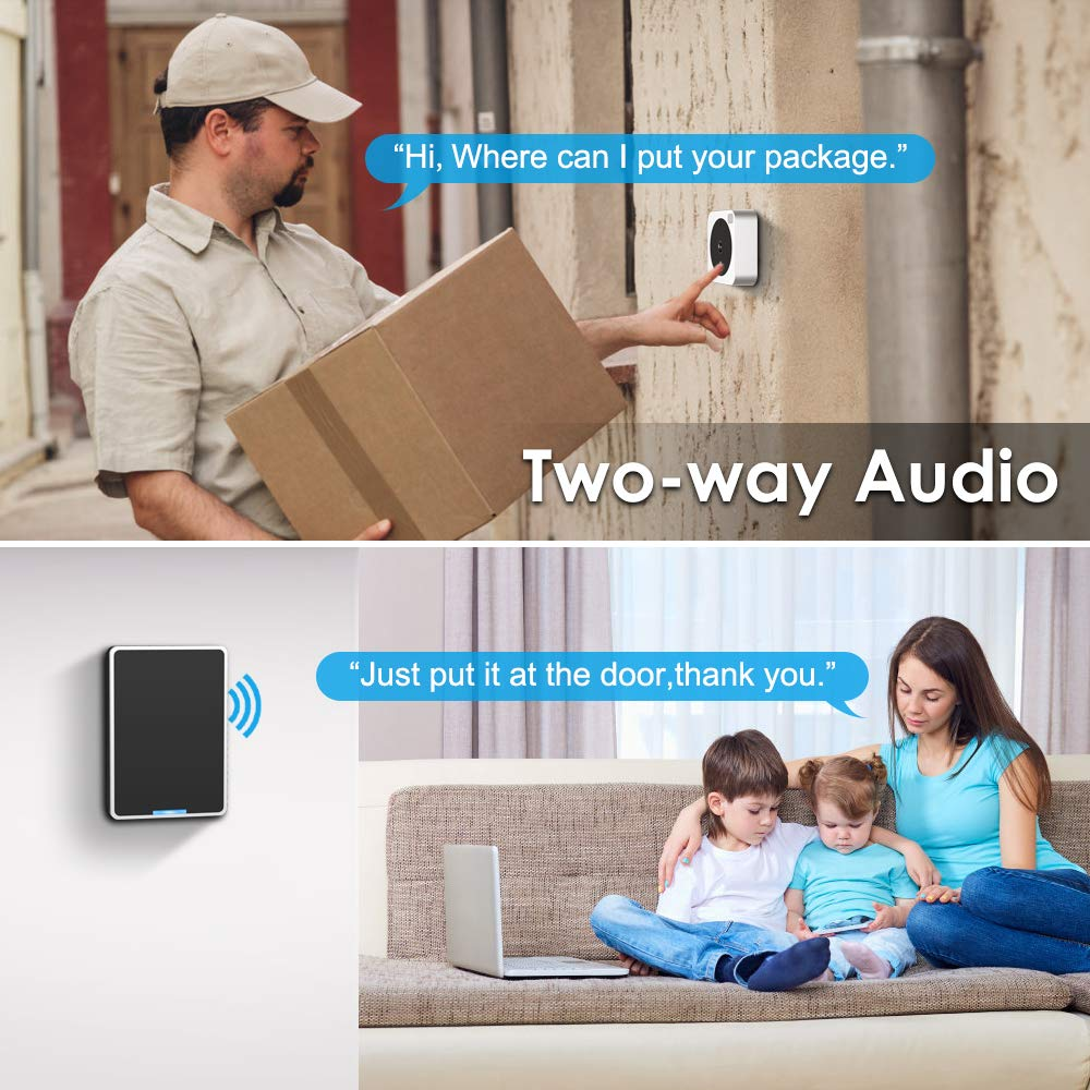 Video Doorbell, NETVUE Wireless Doorbell Camera with Two-Way Talk, IR Motion Detection, Night Vision, Compatible with Alexa Echo Show, Wifi Camera Doorbell with Cloud Storage [Wall Plug Included] (A) by NETVUE (Image #2)