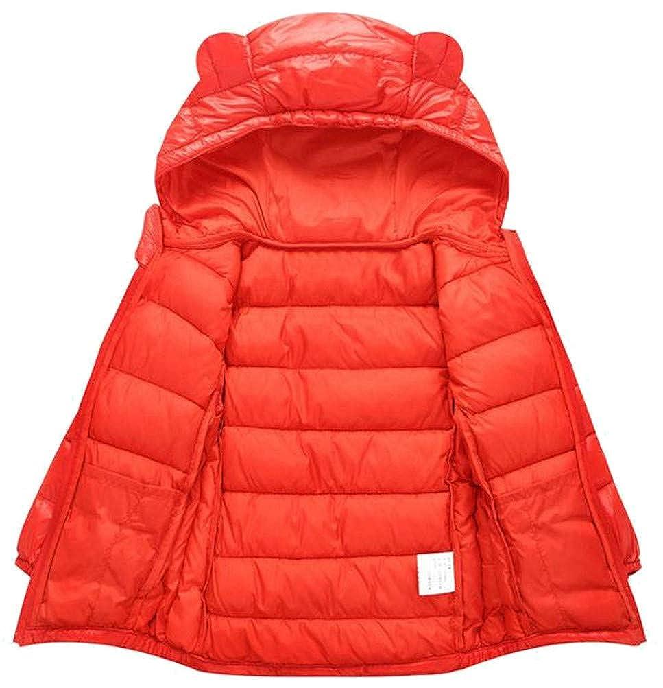 Etecredpow Girl Lightweight Down Hoody Quilted Puffer Solid Zip Jacket Parka Coat