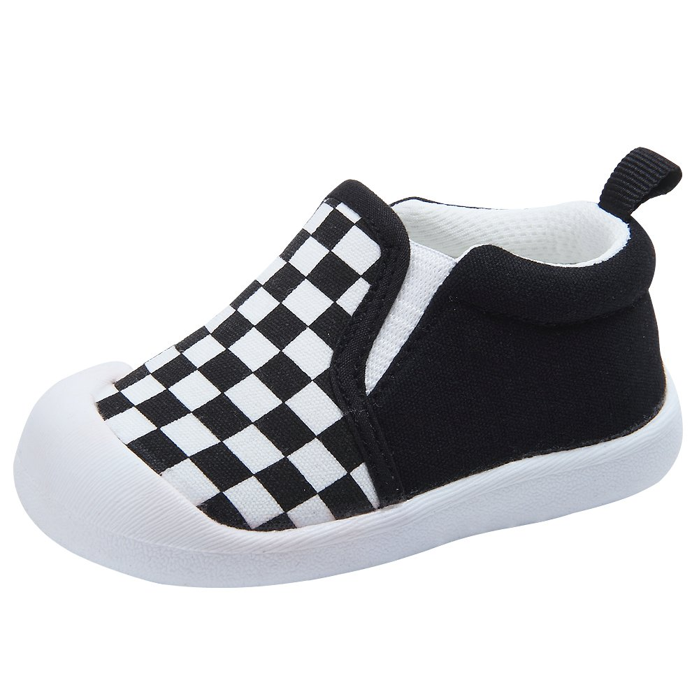 Kuner Baby Girls Boys Cotton Breathable Rubber Sole Non-Slip Sneakers First Walkers Shoes (14(Inside length-11.6cm)(9-12months), Black)