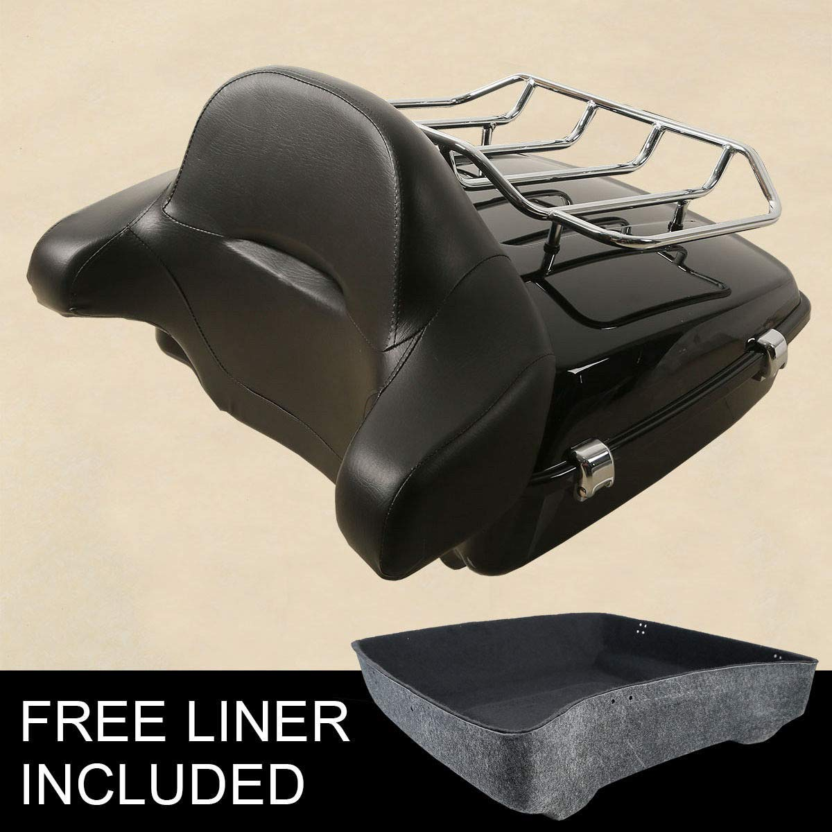 XFMT 10.7'' Chopped Tour Pak Trunk Luggage Rack +Tour-Pak Backrest Pad - Road Zeppelin Styling+ Compatible with Harley Touring FLHR FLHX 2014-2018