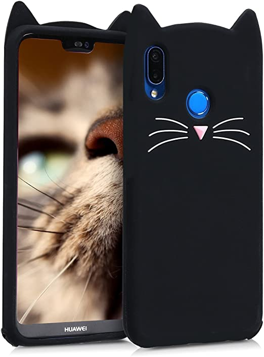 kwmobile Cat Black/White Silicone Case Compatible with Huawei P20 Lite - Soft Silicone Gel Protective Cover with Cute Design