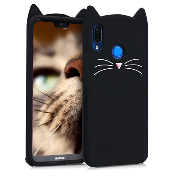 kwmobile Silicone Case Compatible with Huawei P20 Lite - Soft Protective Mobile Cell Phone Cover - Cat