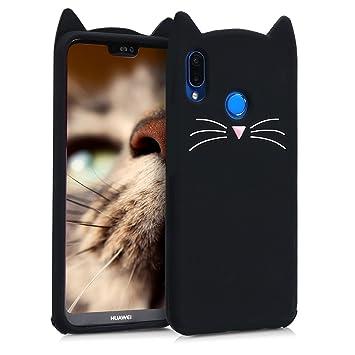 kwmobile Funda para Huawei P20 Lite - Carcasa Protectora de Silicona y diseño con Gato - Cover Trasero de móvil