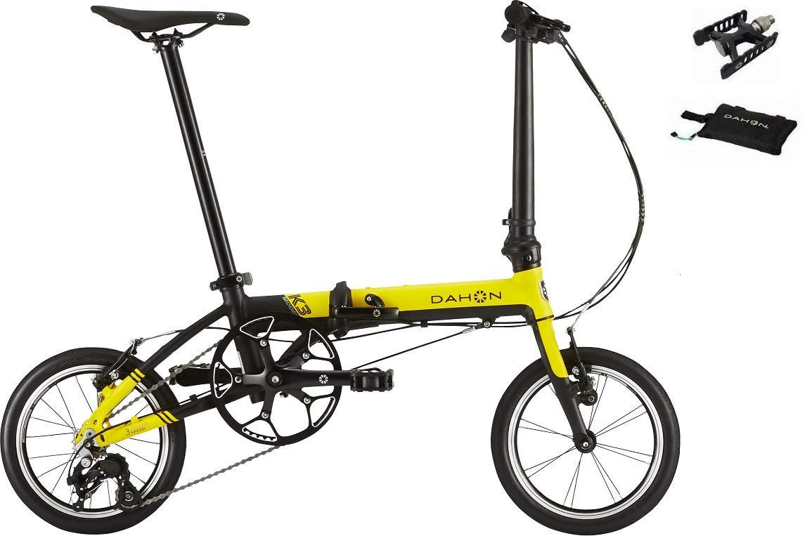 DAHON(ダホン) K3(ケースリー) 外装3段変速 14インチフォールディングバイク +着脱ペダル、スリップバッグ付属 (イエロー×ブラック) B07JQ45MPT