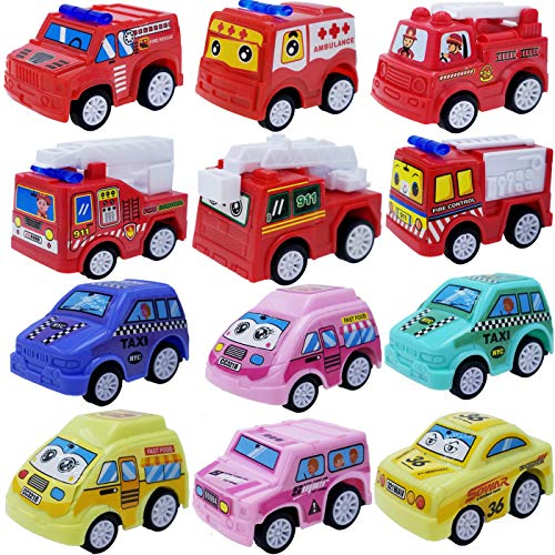 Tonmp プルバックカー おもちゃセット 12個詰め合わせ ミニプラスチック 消防車 都市 車 おもちゃ プルバック トラック 車 グリル 子供 パーティー 記念品
