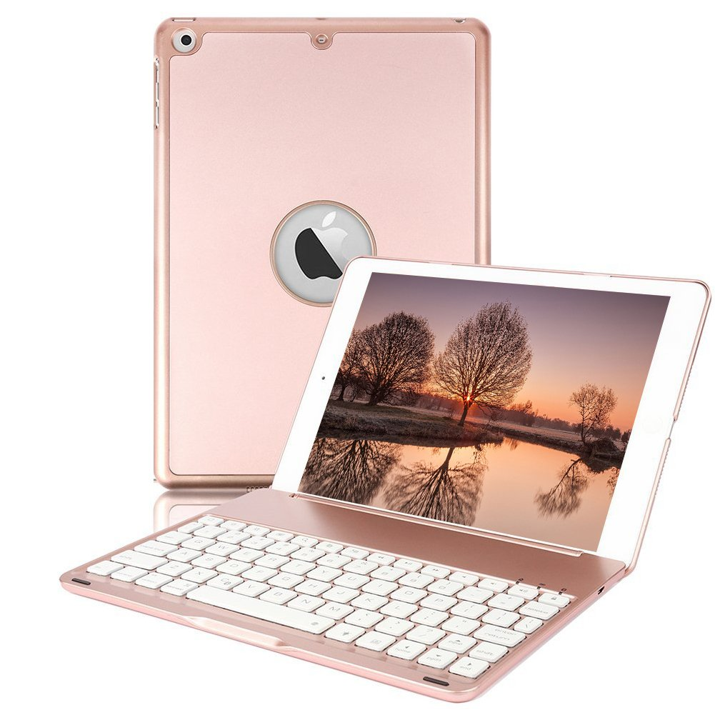 iPad Keyboard Case for 2017 New iPad 9.7 inch & iPad Air with 7 Colors LED Backlit iPad Keyboard with Bluetooth Protective Case Cover for iPad 5th Generation and iPad Air 1 by HotGo (Rose Gold)