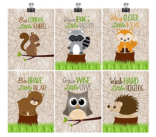 Woodland Nursery Wall Art - Set of 6 - Squirrel Raccoon Fox Bear Owl Hedgehog - Grow Wise Little Owl, Work Hard Little Hedgehog, Dream Big Little Raccoon