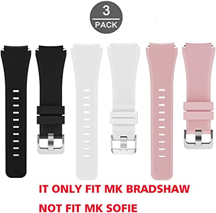Lamshaw Classic Silicone Replacement Band for Michael Kors Bradshaw Smartwatch Strap (3 Pack-Pink+Black+White)