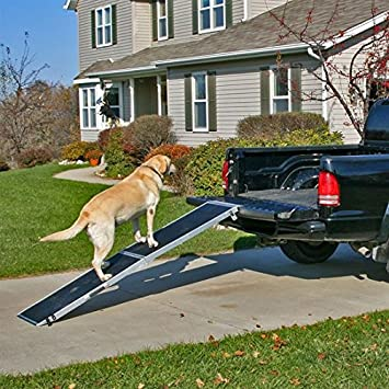 Lightweight Extra Wide Folding Aluminum Pet Ramp  For Trucks Vans Suvs