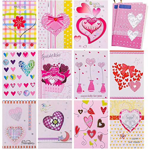 Jovitec 32 Pieces Mini Valentines Heart Cards, Blank Love Cards Folding Heart Greeting Cards with Rope for Valentines' Day Presents Tags, Wedding and Anniversaries Parties Decorations