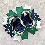 School Uniform Hunter Green Navy White Hair Bow, Handmade Private School Boutique Navy Green White Hair Clip