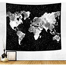 HAOCOO New Art Stylish Pattern Wall Hanging Tapestry for Bedroom / Living Room / Dorm Accessories (60 x 80 Inch, World Map Silhouette)