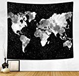 HAOCOO New Art Stylish Pattern Wall Hanging Tapestry for Bedroom / Living Room / Dorm Accessories (51 x 60 Inch, World Map Silhouette)