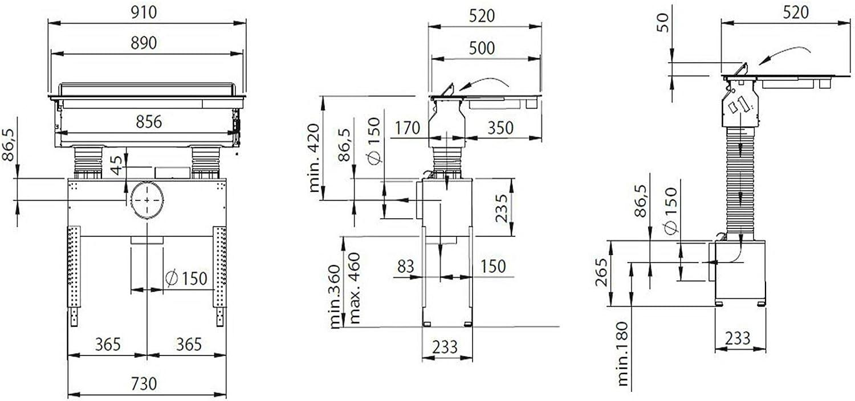 Oranier Autarkes - Placa de inducción de 90 cm con salida de aire integrada KFL 2094 bc y listones laterales de acero inoxidable: Amazon.es: Grandes electrodomésticos