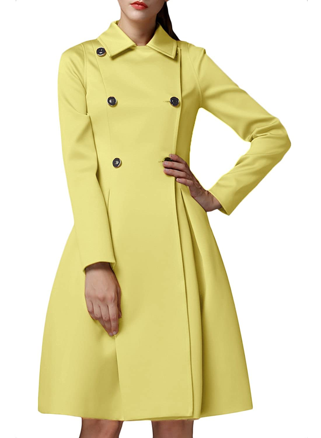 Azbro Women Double Breasted Turn Down Collar Slim Fit Trench Coat