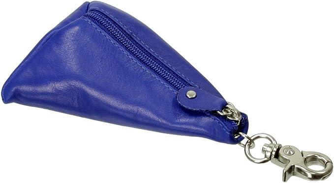 Branco Piel Estuche Llavero Mini Monedero Bolsa De Llaves Llave Carpeta Llavero con Cremallera Compartimento Mini Monedero Vers. Colores Azul Azul Real Breite ca. 8 cm/Höhe ca. 12 cm/Tiefe ca. 2,5 cm: