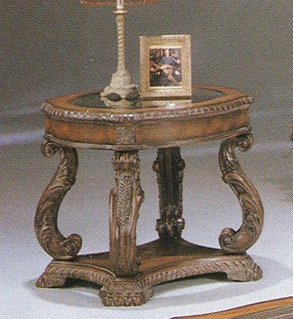 Cheap Antiqued Finish Glass Enlay Top End Table