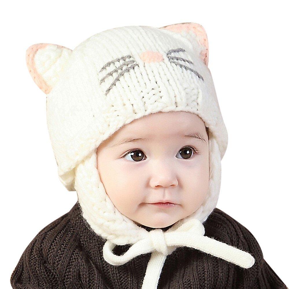 KOLY bebé Tejido de punto Mantenga el sombrero caliente Bebé Beanie Sombrero - Niños Gorra de invierno cálido Niña Chicos SombreroTejido de punto Pelota Sombreros gorra (42-48cm, Beige)