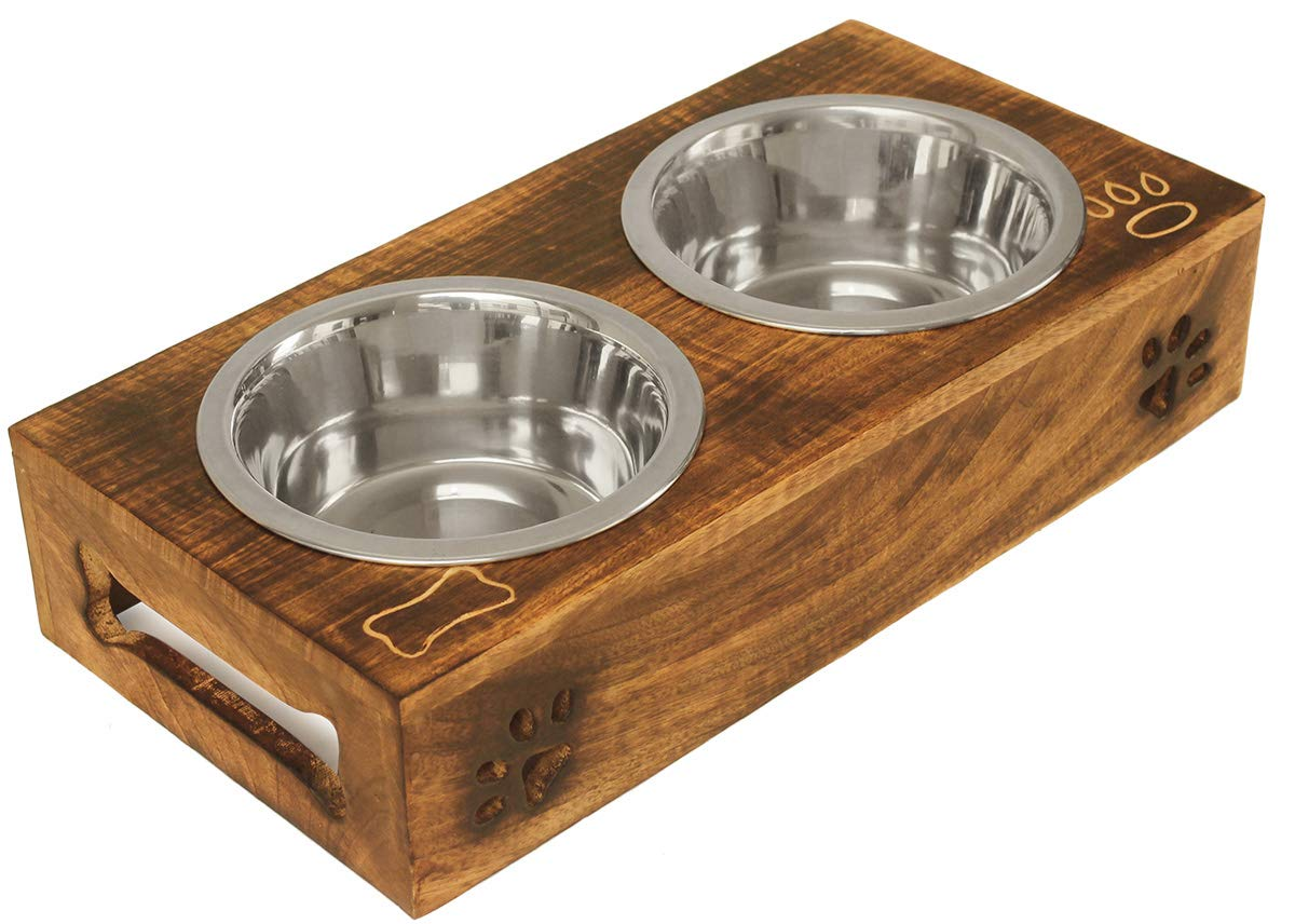 Crafkart Pet Special - Pets Premium Elevated Dog and Cat Pet Feeder Feeding Bowl Double Bowl Raised Stand Comes with Paw and Bone Motifs. Perfect for Dogs and Cats. by CRAFKART