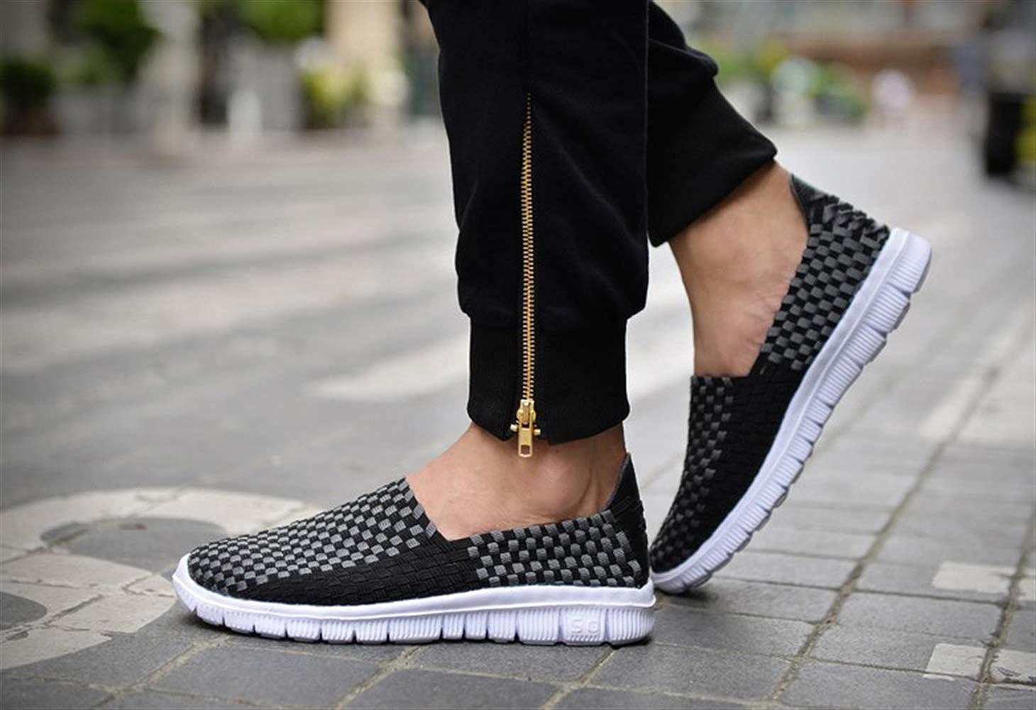Liveinu Men Hand Woven Sandals Slip-Ons Summer Breathable Comfort Flat Loafer Walking Shoes