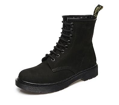 a9045076b213 Honeystore Damen Stiefeletten Klassischer Worker Flache Profilsohle Martin Stiefel  Schnüren Freizeitschuhe Leder Martens Chelsea Combat Boots
