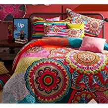 FADFAY Home Textile,Boho Style Bedding Set,Boho Duvet Cover Set,Bohemian Bedding Set,Queen,4Pcs