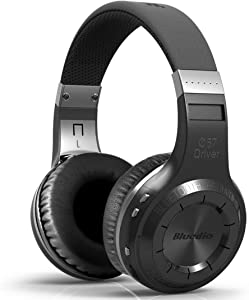 Bluedio H-Turbine Wireless Bluetooth 5.0 Headphones Powerful Bass Over-ear Headset Bulit-in Microphone-Retail package Global release (Black)