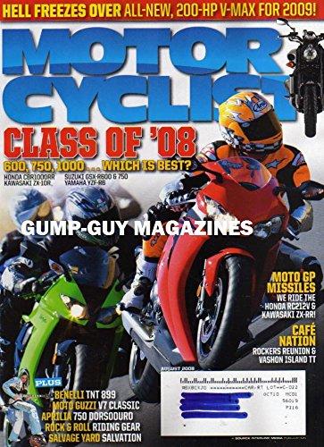 Motorcyclist Magazine August 2008 Hell Freezes Over  200 Hp V Max For 2009 Honda Rc212v Kawasaki Zx Rr Benelli Tnt 899 Moto Guzzi V7 Classic Aprilia 750 Dorsoduro Rock   Roll Riding Gear
