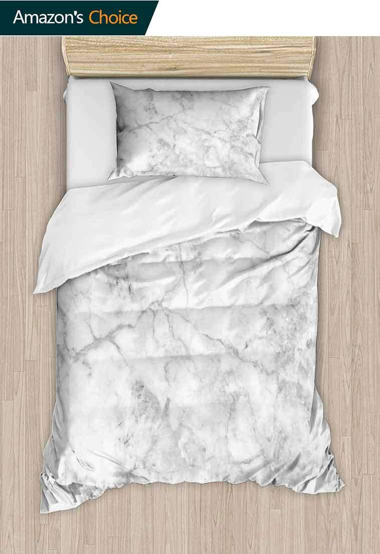Marble Printed Quilt Cover and Pillowcase Set, Fractured Lines Stained Grunge Surface Effects Ceramic Style Background Artful Motif, Decorative 2 Piece Bedding Set with 1 Pillow Sham Grey Dust by carmaxshome