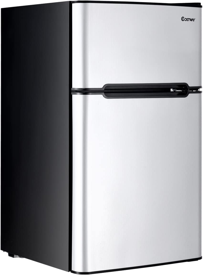 HOMGX Compact Refrigerator, Double Door 3.2 cu. ft. Cooler Steel Frame, Removable Glass Shelves, Adjustable Thermostat, Mini Fridge with Freezer, Gray