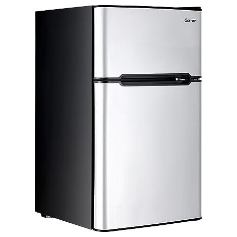 Costway 2 Door Compact Refrigerator 3.2 Cu Ft. Unit Small Freezer Cooler  Fridge (