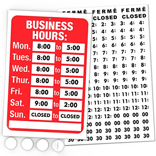 Open Signs, Business Hours Sign Kit - Bright Red and White Colors - Includes 4 Double Sided Adhesive Pads and a Black Vinyl Number Sticker Set - Ideal Signs for Any Business, Store or Office]()