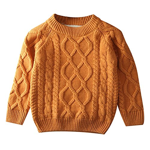 - Toddler Baby Boy Girl Cable Knit Pullover Sweater Warm Sweatshirt brown 90