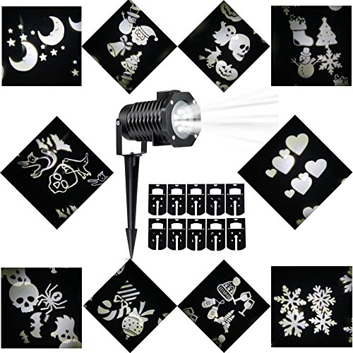 Halloween Decorations Projector LED Lights Waterproof Landscape Projection LED Light with 10 Switchable Patterns...