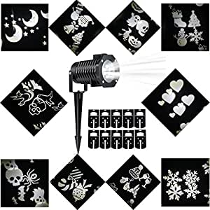 Halloween Decorations Projector LED Lights Waterproof Landscape Projection LED Light with 10 Switchable Patterns for Christmas Auto Rotating Projection LED Snowflake spotlight (White)