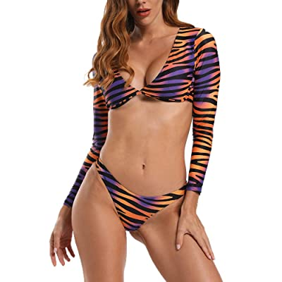 ABASACO Long Sleeve Bikini Zebra Stripe Print Swimsuit Deep V Crop Cheeky Bottom: Clothing
