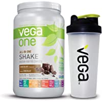 Vega One All-In-One Plant Based Protein Powder Chocolate with Shaker Bottle - Plant Based Vegan protein, Non Dairy, Gluten Free, Non GMO (19 servings)