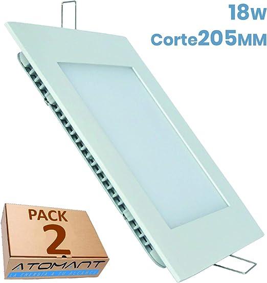 Led Atomant Pack 2X Panel Cuadrado 18 W Downlight Led, Color Blanco frío (6500K). 1600 Lumenes Reales. Driver Incluido, 225 Mm, 2: Amazon.es: Iluminación