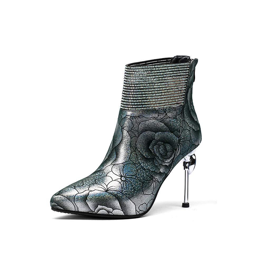 Lederschuhe 2018 Herbst Und Winter Neue Damenschuhe Stiletto High Heel Schwarze Kurze Stiefel Sexy Mode Strass Winter Schuhe Muster Sexy High Heels (Farbe   Bunte, größe   38)