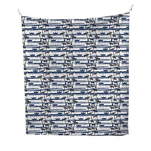 Palm Treeocean tapestryHawaiian Pattern with Paper Boats on Worn Sea Waves Coastal Artwork 54W x 72L inch Large tapestryBlue Dark Blue White