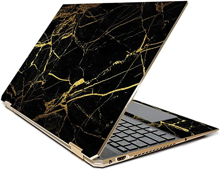 """MightySkins Skin Compatible with HP Spectre x360 15.6"""" Gem-Cut (2019) - Black Gold Marble 