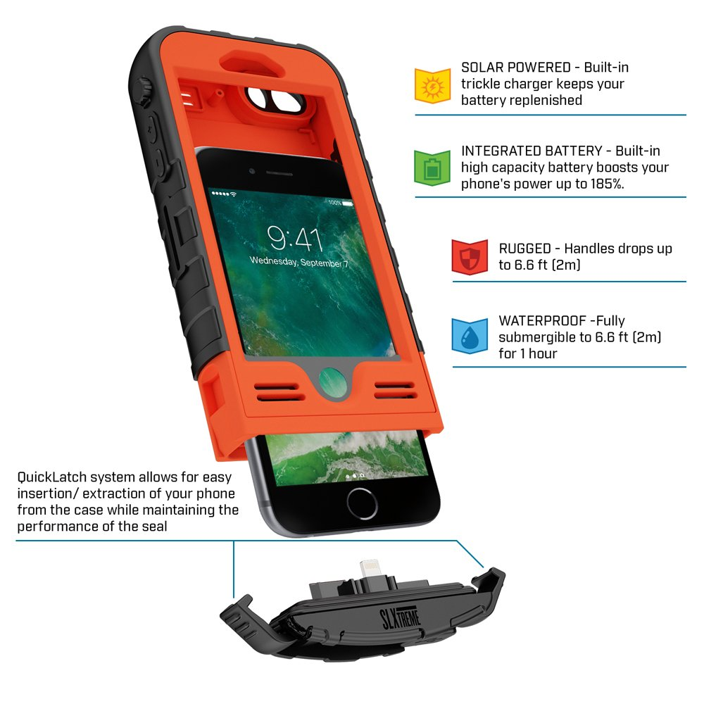 SnowLizard SLXtreme iPhone 8 Case. Solar Powered, Rugged and Waterproof with a built in Battery - Signal Orange by Snow Lizard Products (Image #3)