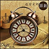 American retro bedside Bell alarm clock bedroom quiet creative Chao Zhong lazy clock loud metal alarm clock