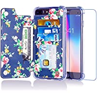 Misscase Leather iPhone Wallet Case with Card Holder (Flower Floral Blue/Red )