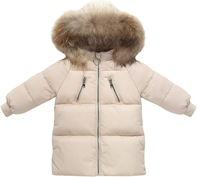sunbona Toddler Baby Boys Girls Jacket Outwear Winter Fur Hoodied Warm Puffer Parka Thick Padded Coat Clothes