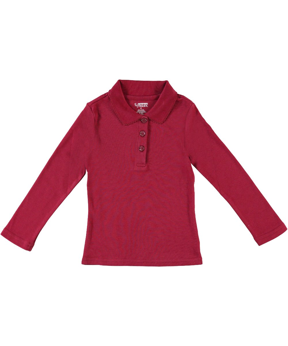 French Toast Big Girls' L/S Fitted Knit Polo With Picot Collar - burgundy, 10