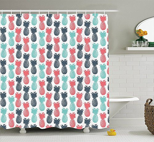 [Pineapple Decor Shower Curtain Set Island Pineapple Tropical Fruit Pattern Stamped Minimal Backdrop Pop Art Print Bathroom Accessories Salmon Blue] (Vintage Pin Up Girl Costume Ideas)