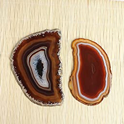 Hongjiantian 2pcs Crystal Natural Sliced Agate Slab Coasters Agate Slice Avg.6.3 to 6.7Inches