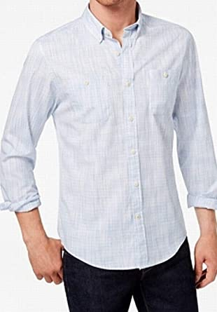 f54045b73 Image Unavailable. Image not available for. Color: Tommy Hilfiger White Mens  Small Grid Button Down Shirt ...