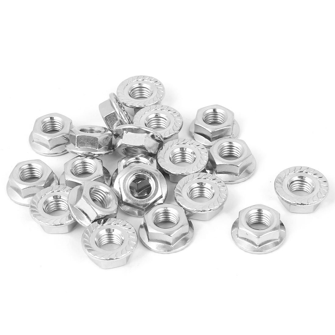 1//4-28 Fine Thread Hex Flange Nut with Serration Case Hardened Low Carbon Steel Zinc Plated Pk 50